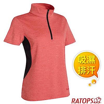 瑞多仕 女款 COOLMAX 吸濕排汗休閒POLO衫_DB8914 蜜桃紅/黑