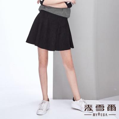 【麥雪爾】絨布簡約造型傘襬短裙