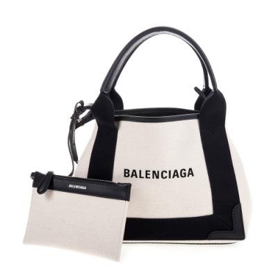 BALENCIAGA 新款NAVY Cabas xs帆布子母手提/肩背兩用包 (黑X白)