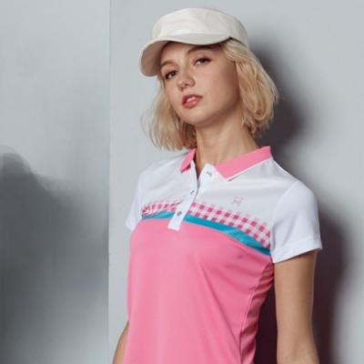 Abel Fox s Sports粉格紋熱昇華短袖polo衫-F5204A-28
