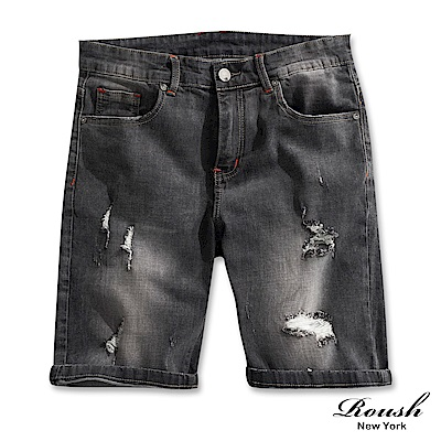 Roush 破損水洗鐵黑色牛仔短褲