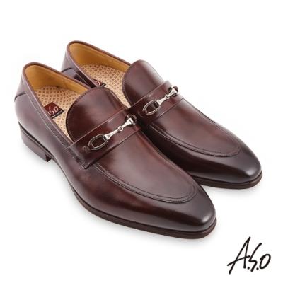 A.S.O 職場通勤 零壓挺力拋色金屬釦樂福鞋-咖啡