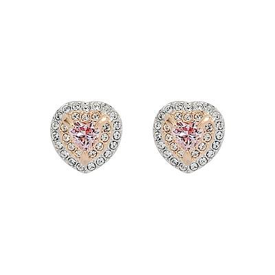 SWAROVSKI施華洛世奇ONE璀璨粉色水晶愛心玫瑰金耳環