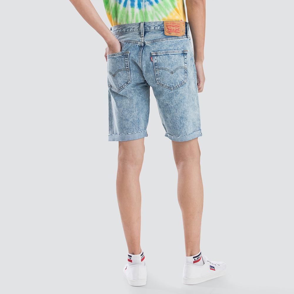Levis 男款 501經典排釦牛仔短褲 褲管不收邊 重磅 無彈性