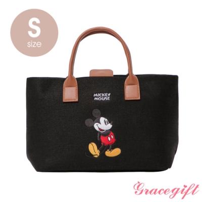 Disney collection by grace gift–唐葳設計迪士尼米奇2WAY帆布包S 黑