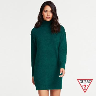 GUESS-女裝-高領針織落肩連身裙-綠