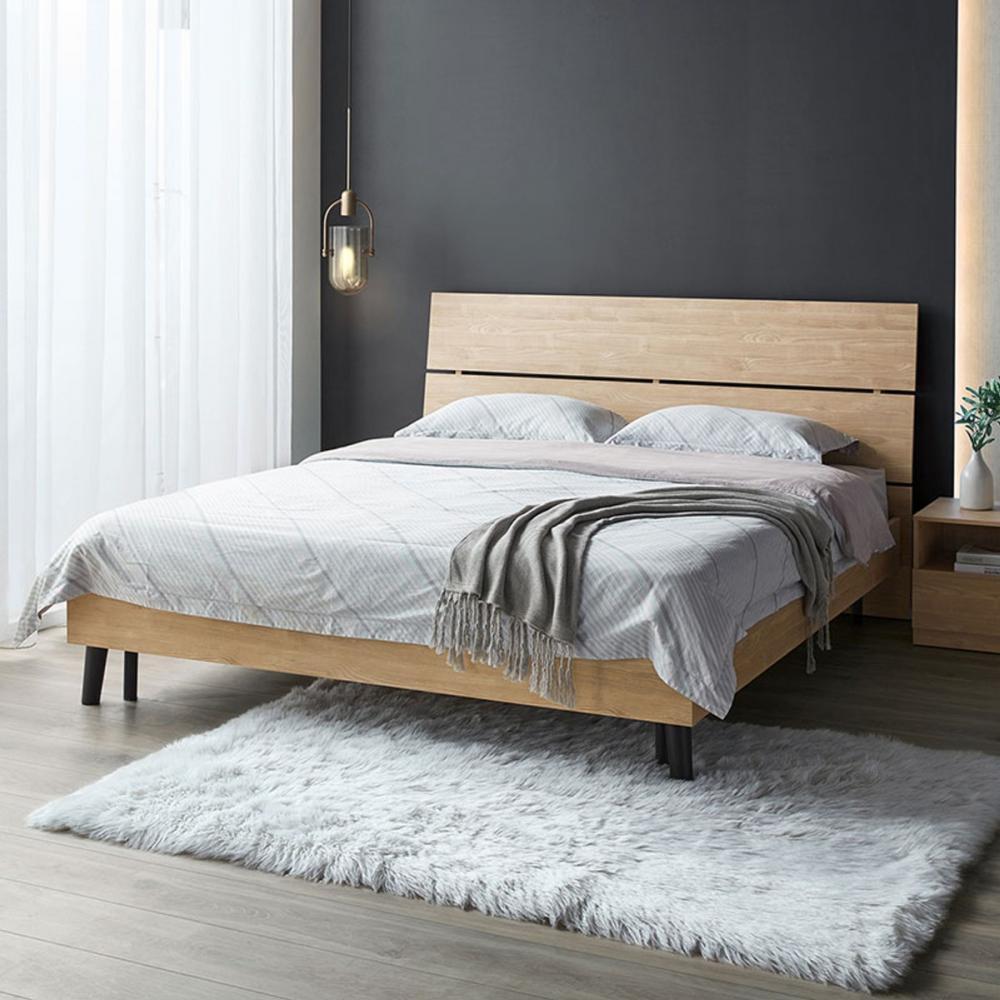 林氏木業現代簡約高床底斜背雙人5尺床組 DV1A-原木色 (H014270712)