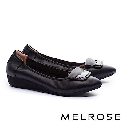 低跟鞋 MELROSE 舒適典雅金屬鑽飾釦全真皮楔型低跟鞋-黑
