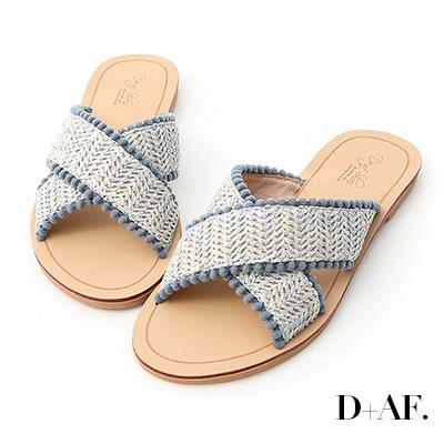 D+AF 峇里假期.草編小球球交叉拖鞋*藍