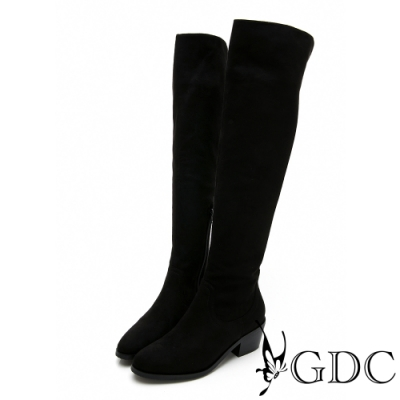 GDC-經典素面基本百搭秋冬膝上長筒靴-黑色