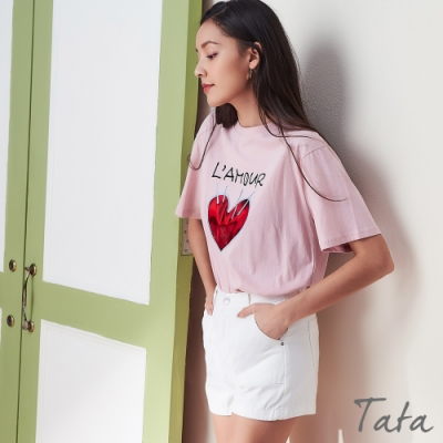 閃光愛心字母刺繡上衣 TATA