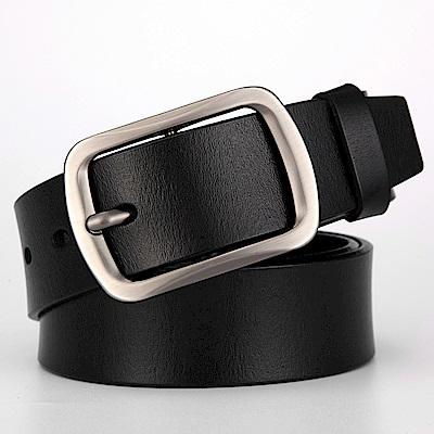 ZK2011BK時尚高質感穿針式牛皮腰帶皮帶(腰圍在22-42吋內適附ZK2010 打孔針
