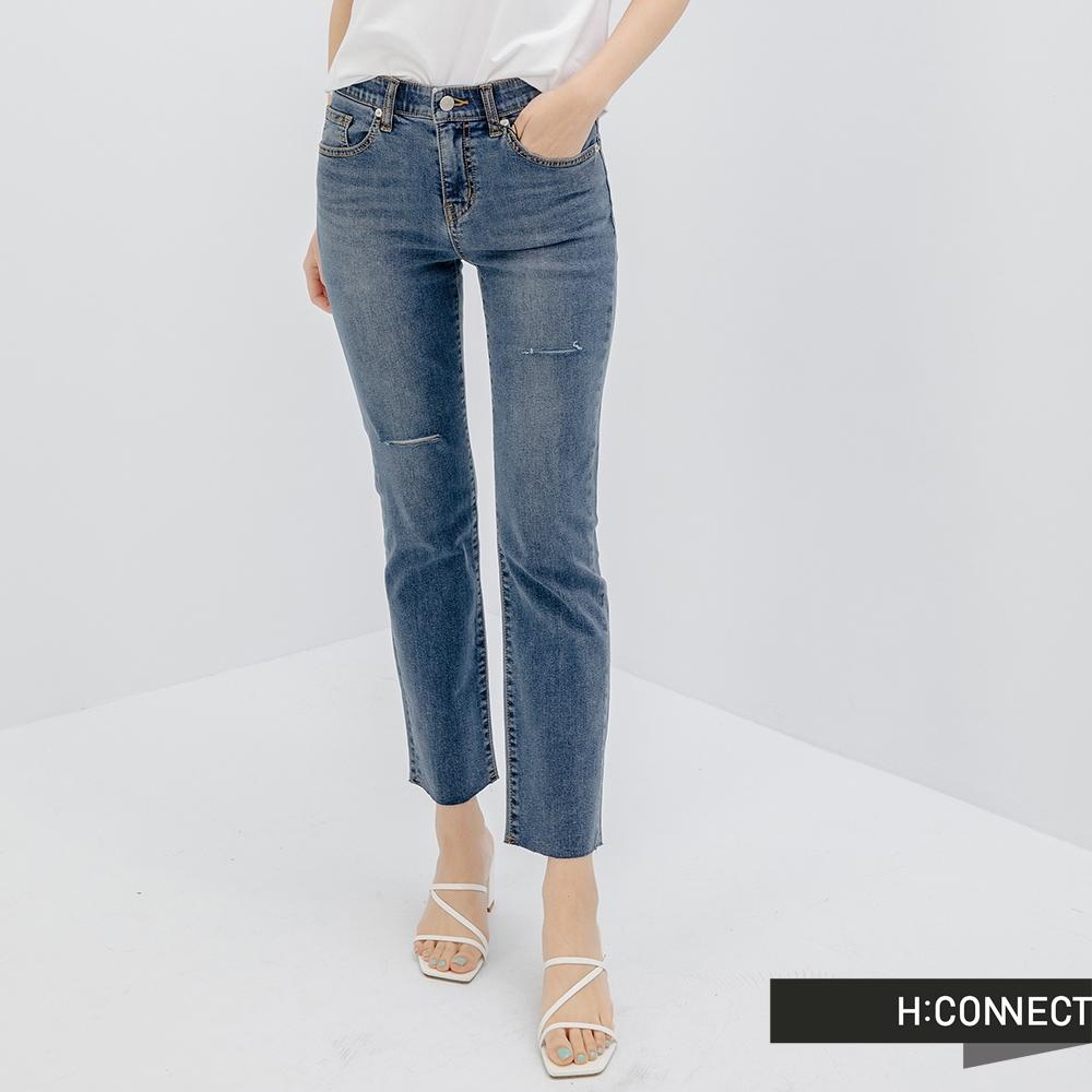 H:CONNECT 韓國品牌 女裝-微割破率性休閒牛仔九分褲