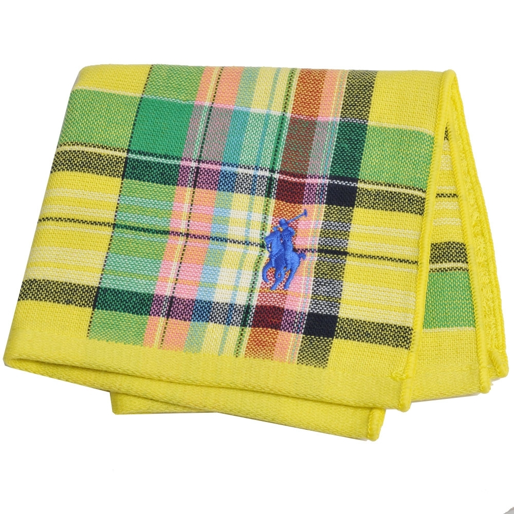 RALPH LAUREN POLO 刺繡LOGO格紋雙面用小方巾(亮黃系)