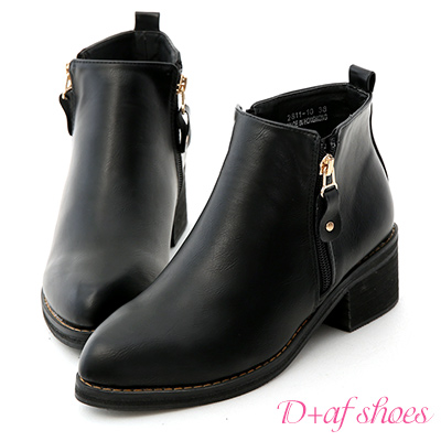 D+AF 個性主打.側拉鍊設計尖頭低跟短靴*黑