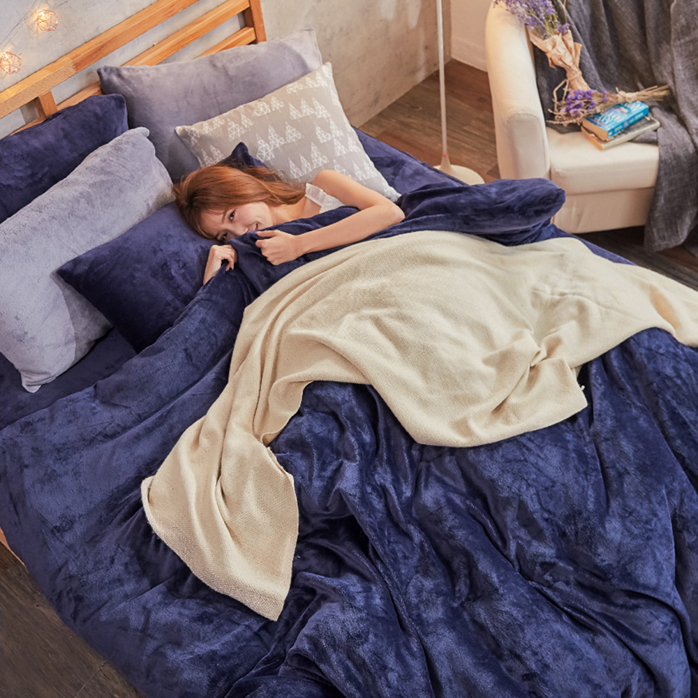 戀家小舖 / 法蘭絨  單人床包兩用毯組  尼泊爾藍  保暖抗寒