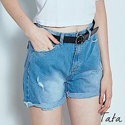 中高腰刷破牛仔短褲 TATA