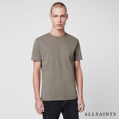 ALLSAINTS BRACE TONIC 公羊頭骨刺繡純棉修身短袖T恤-灰綠