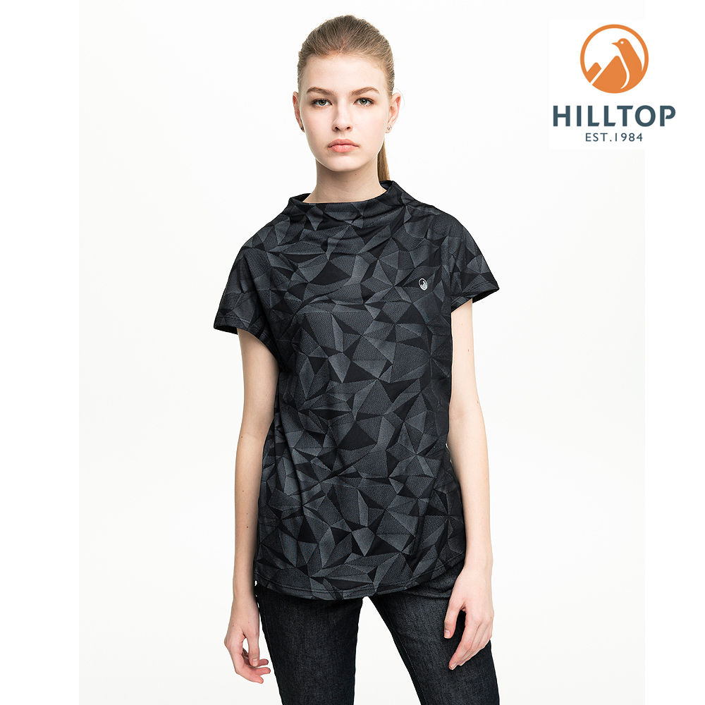 【hilltop山頂鳥】女款吸濕快乾抗UV抗菌緹花T恤S04FI1黑美人