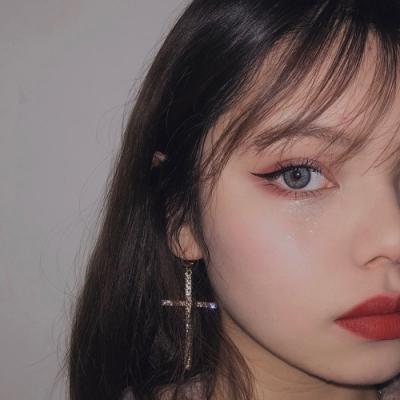 梨花HaNA 韓國925銀針法式女人性感大十字架珍珠配鑽耳環