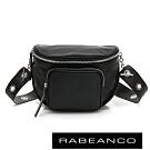 RABEANCO INA牛皮T型鏈條寬背帶斜背/腰包 黑