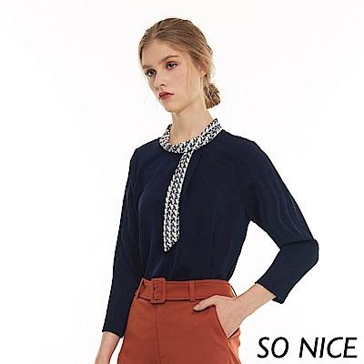 SO NICE氣質幾何印花造型領上衣