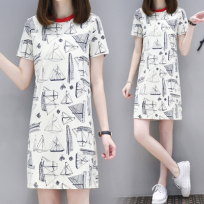 Lockers 木櫃 歐風時尚印花中長款直筒連身裙