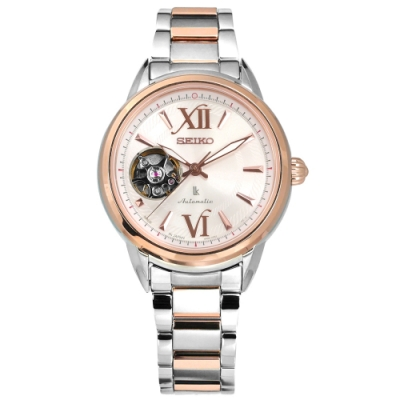 SEIKO 精工 LUKIA 機械錶 藍寶石水晶玻璃 不鏽鋼手錶-粉x鍍玫瑰金/34mm
