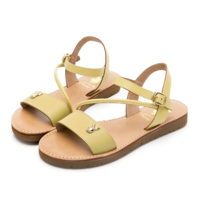 PLAYBOY悠閒假期斜帶真皮涼鞋-黃-Y6222BB
