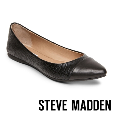 STEVE MADDEN DELANCY 皮革尖頭拼接平底鞋-黑色