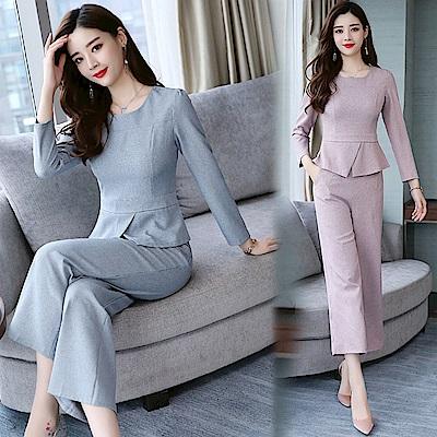 淡彩色調優雅收腰兩件式褲套裝M~3XL(共二色)-SZ