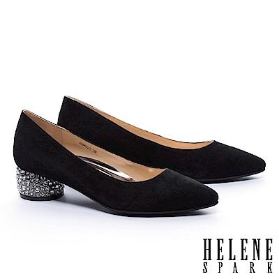 高跟鞋 HELENE SPARK 奢華主義晶鑽跟羊麂皮尖頭高跟鞋-黑
