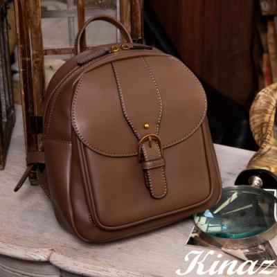 KINAZ 掀蓋古金拉鍊硬挺後背包-古著暖褐-復古市集系列