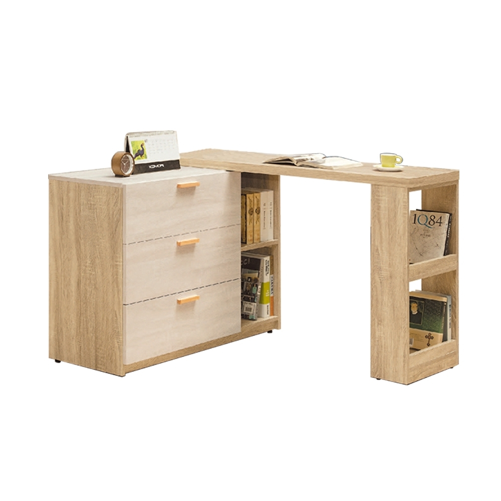 柏蒂家居-瑞莎4尺多功能伸縮L型書桌(置物櫃+工作桌面架)-120~210x40x79cm