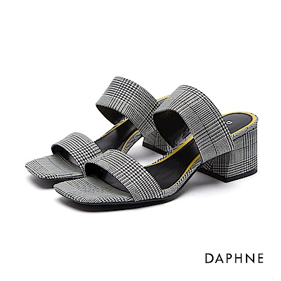 達芙妮DAPHNE 涼鞋-千鳥格撞色繩結布面粗跟涼鞋-黑