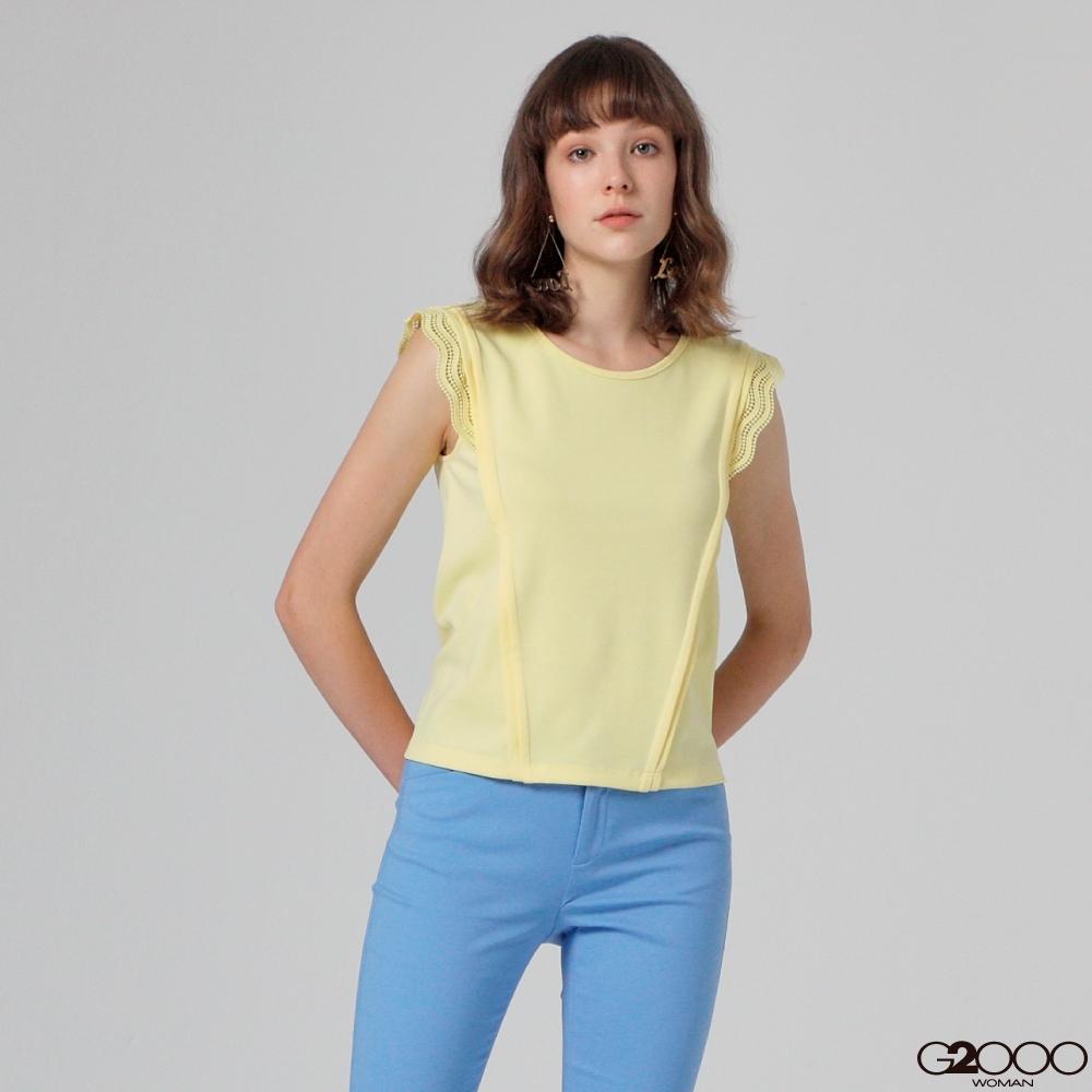 G2000素面蓋袖休閒T恤-黃色