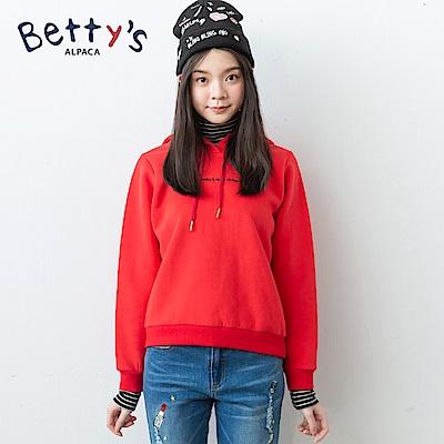 betty's貝蒂思 簡約刺繡內刷毛連帽T-shirt(紅色)