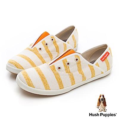 Hush Puppies 清爽條紋咖啡紗懶人帆布鞋-黃色