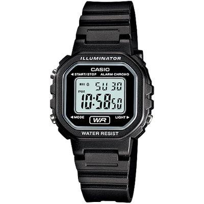 CASIO 黑色方塊輕巧個性電子錶-黑框灰面(LA-20WH-1A)/22mm