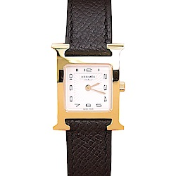 HERMES Heure H小牛皮金框石英女仕腕錶(黑/21mm)
