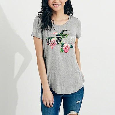 海鷗 Hollister 經典印刷文字圖案短袖T恤(女)-灰色