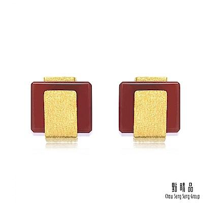 點睛品 g collection 方形紅瑪瑙 黃金耳環
