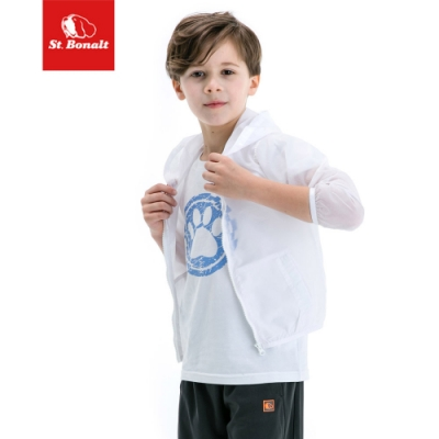 【St.Bonalt 聖伯納】男女童 連帽休閒運動夾克 防曬 防潑水 可收納 後背 透氣 涼感 舒適-8003ㄍㄠ