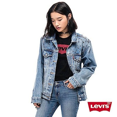 Levis 女款 牛仔外套 Oversize 寬鬆版型 鉚釘微破壞