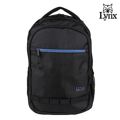 【LYNX】美國山貓運動休閒多隔層機能後背包-黑色
