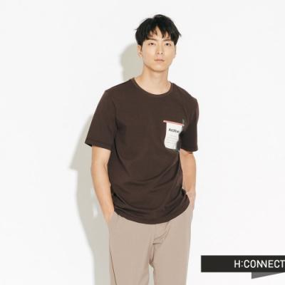 H:CONNECT 韓國品牌 男裝-簡單色塊標語短T-咖啡色