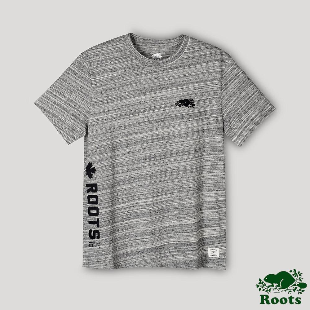 Roots男裝- 椒鹽灰系列 段染短袖T恤-椒鹽灰