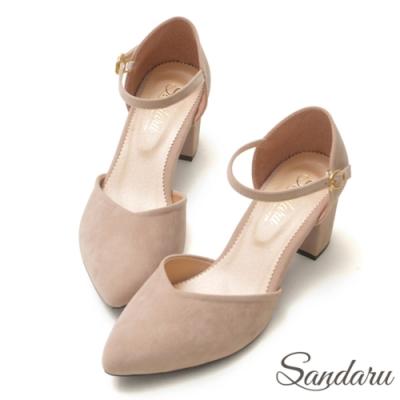 山打努SANDARU-MIT法式絨尖頭瑪莉珍鞋-米