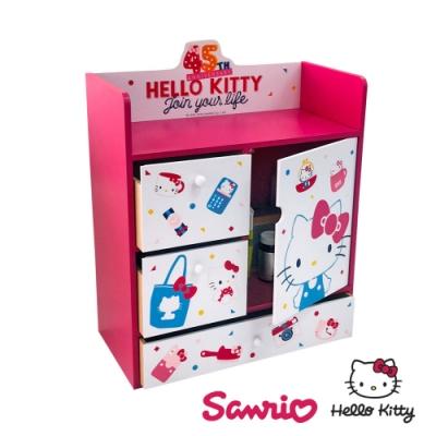 CY本舖 Hello Kitty 凱蒂貓 繽紛玩美 大型多抽屜+拉門櫃 置物櫃 抽屜櫃 桌上收納櫃