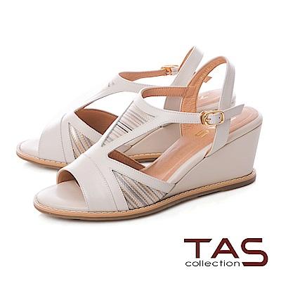 TAS 寬繫帶條紋側鏤空楔型涼鞋-淑女米